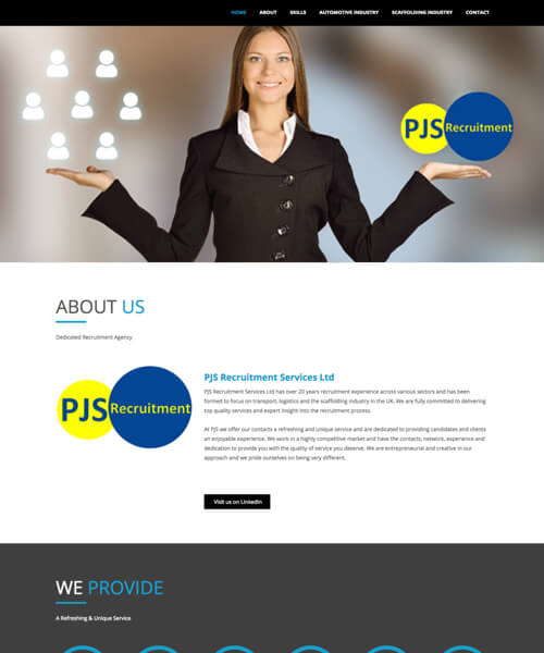 PJS Recruitment Web Design Example